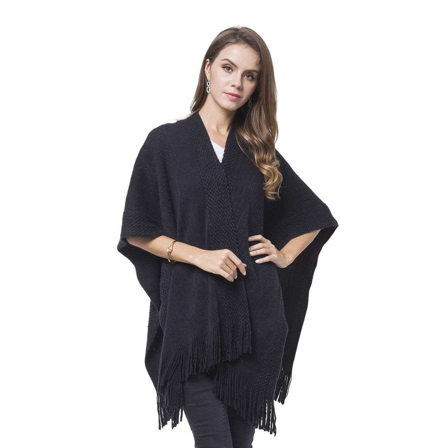 66220ec16ed Get Quotations · Black 100% Acrylic Knitted Pattern Swimsuit Cover-ups  Kimono For Women with Tassels 27.5