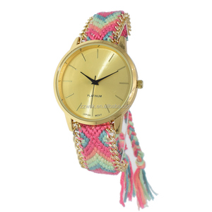 custom logo vogue lady's watch with woven straps and tassels for girls