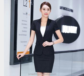 143390051 Las mujeres trajes de verano trajes de rayas para dama de oficina de manga  corta uniforme