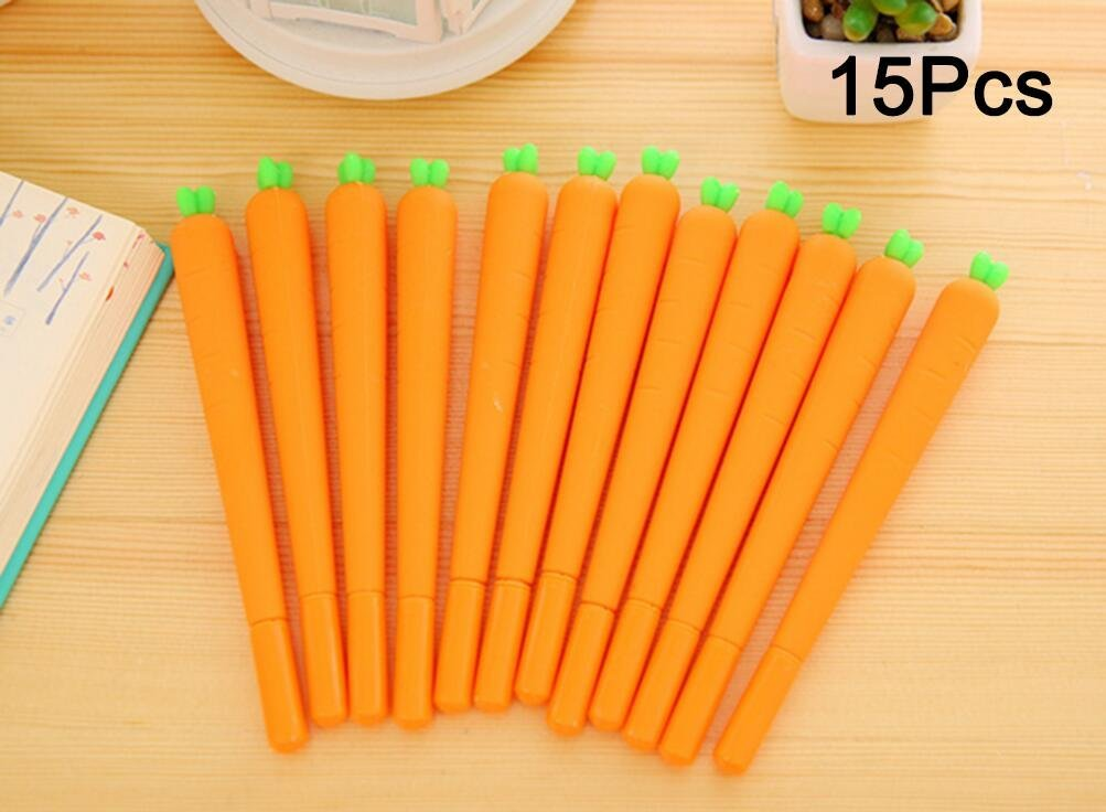 Gathere 15Pcs Novelty Cute Carrots Ballpoint Writing Pen Set Silicone Vegetable Creative Gel Ink Pens for Office School Gift Set (0.38mm, black ink)