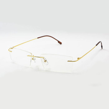 bcbdde378ed Titanium Memory Flexible Rimless Frame Eyeglasses Optical Prescription  Glasses for Women and Men Frame Shape Custom