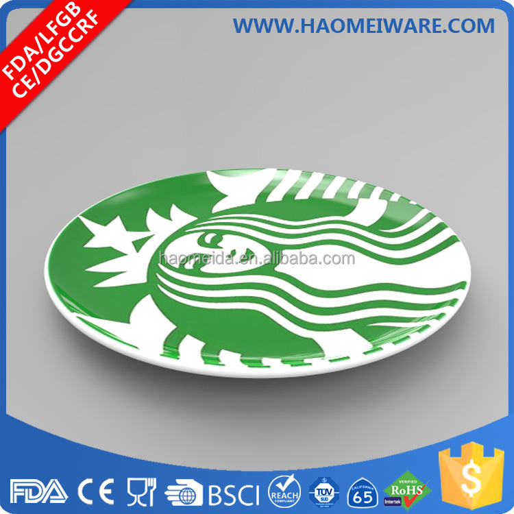 Round advertising displaying porcelain ceramic coin tray with custom OEM logo and printing designs