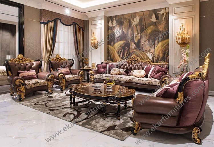 French luxury meuble royale gold genuine leather sofa for Meuble for french furniture