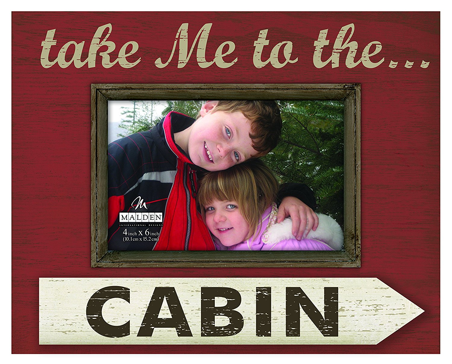 """Malden International Designs Distressed Silkscreened Wood with Wood Attachment """"Take me to the Cabin"""" Picture Frame, 4x6, Brown"""