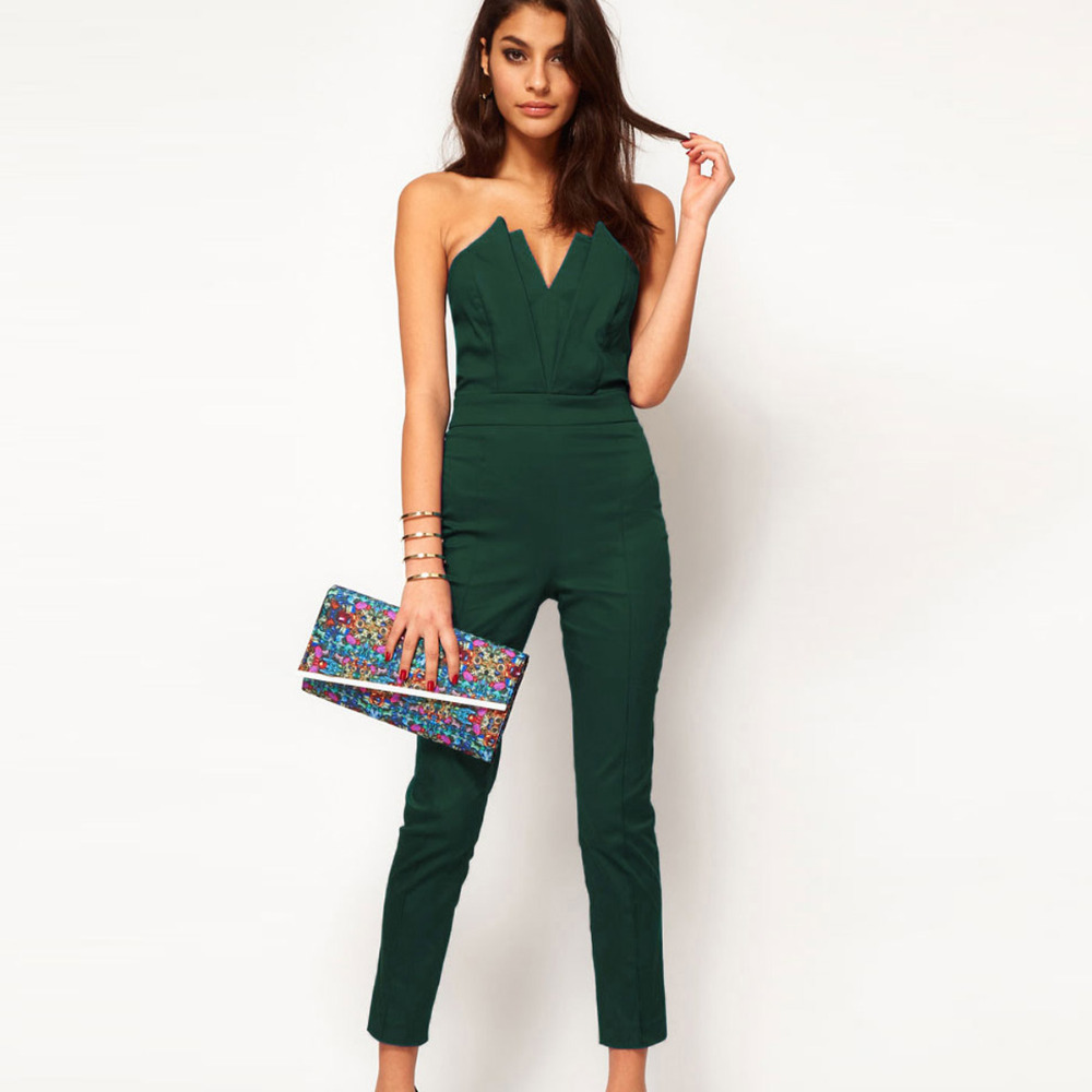 9667c4b09b4d Get Quotations · Women s Strapless Low-cut V Neck Sexy Fashion Backless Jumpsuit  Plus Size Green Sexy rompers