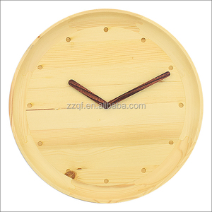 QINGFENG wooden clock modern simple design natural color wood clock black with custom logo