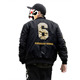 men black american embroidered college bomber jacket