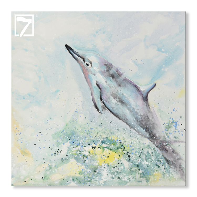 Prints with Hand Touch Canvas Painting Dolphin Art for Wall Decoration
