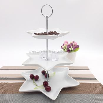 3 tiers nice fashion star ceramic white dessert silver plate stand & 3 Tiers Nice Fashion Star Ceramic White Dessert Silver Plate Stand ...