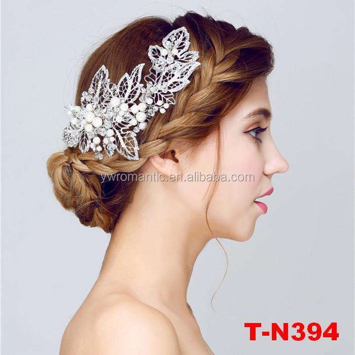 New fashion silver plated floral wedding bridal leaf hair clip for women фото