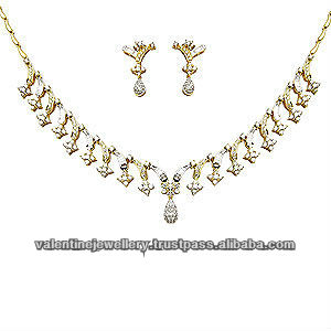 light weight diamond necklace set, wedding necklace set, full neck covering necklace design