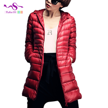 Plus size 6XL 90% White duck down jacket Women ultra light down jacket 2016 winter new hooded thin long overcoat YT77-1