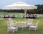 Umbrella And Rattan Table Chair