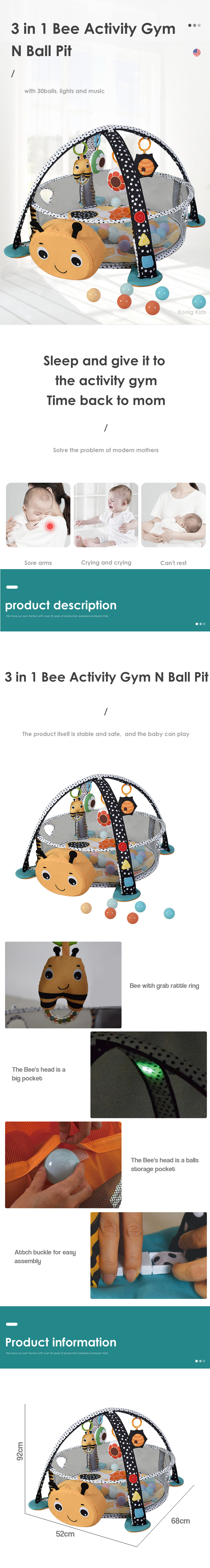 Wholesale Baby Toy Gym 3 in 1 Bee activity gym with lights and music