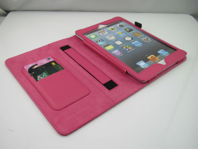 hand hold stand wallet leather case for ipad mini