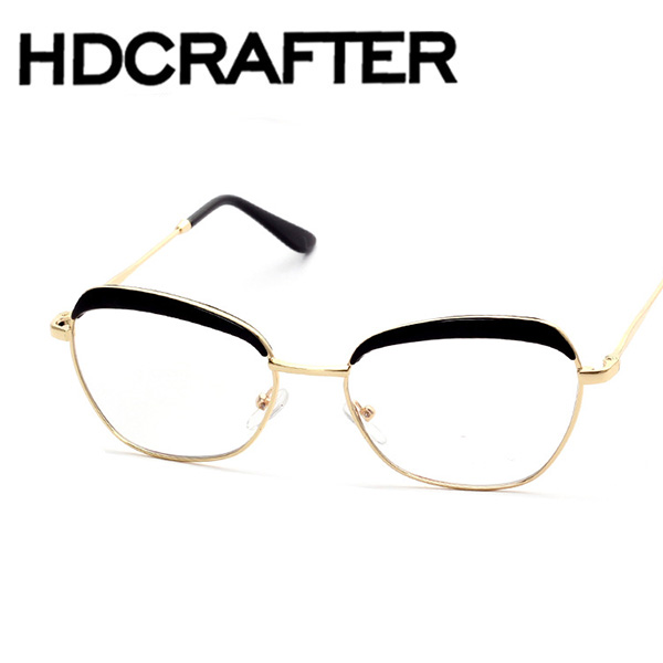 new metal frame plain Korean New Fashion Men Round Rimless Glasses Vintage Optical Frame Women oval Eyewear Brand