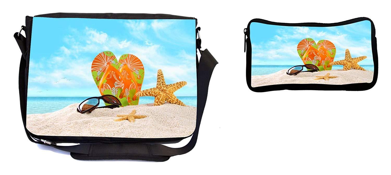 2d2ea2da6f38 Get Quotations · Rikki Knight Orange Green Flip-Flops in The Sand with  Starfish Design Multifunction Messenger Bag