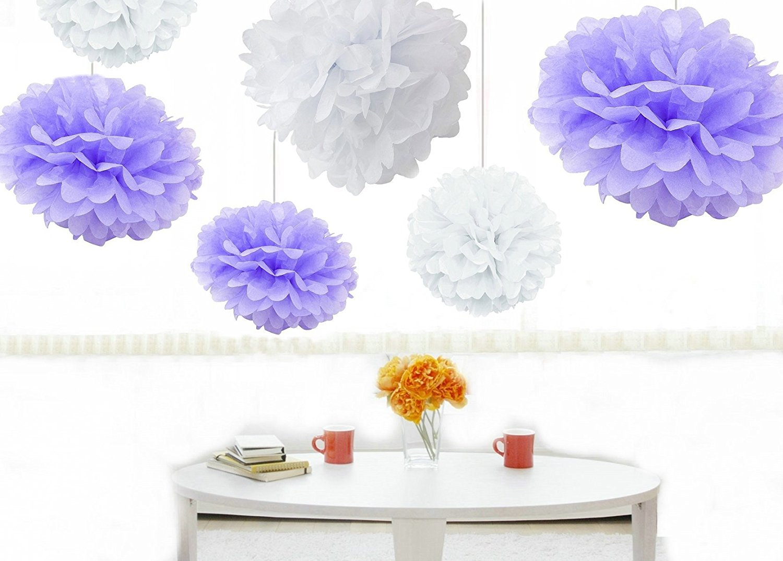 Buy Kubert Pom Poms - 12 pcs Tissue Paper Flowers, Peach & White ,3 ...