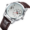 2016 most popular SKONE 9245 mens leather strap two clock watch