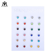 24K Gold Plating Surgical Steel 4mm Birthstone CZ Ear Stud Earrings Studs Studex Tragus Cartilage Piercing Body Jewelry