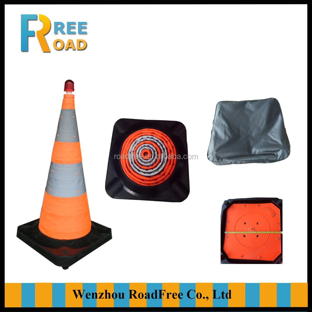 30inch/75cm Oxford fabric Collapsible traffic cone with rubber base
