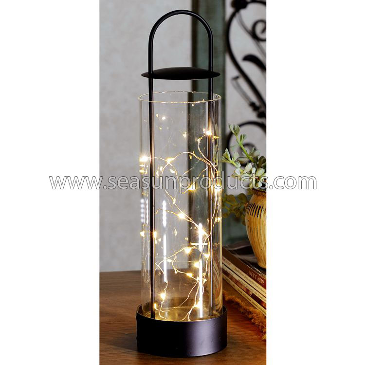 China black metal candle holder glass lantern with 16 LED lamps