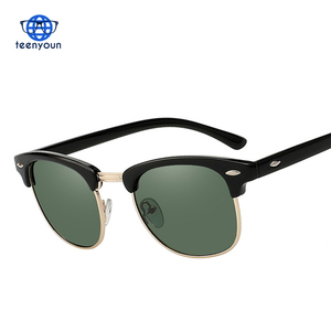 Teenyoun Brand Vintage Semi Rimless Polarized Sunglasses Men Women UV400