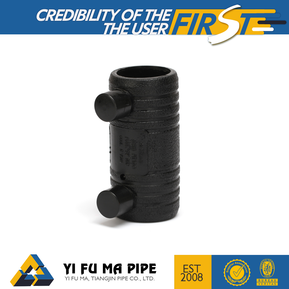 HDPE electrofusion fusion coupler , polyethylene Gas Fitting Pipe Coupling