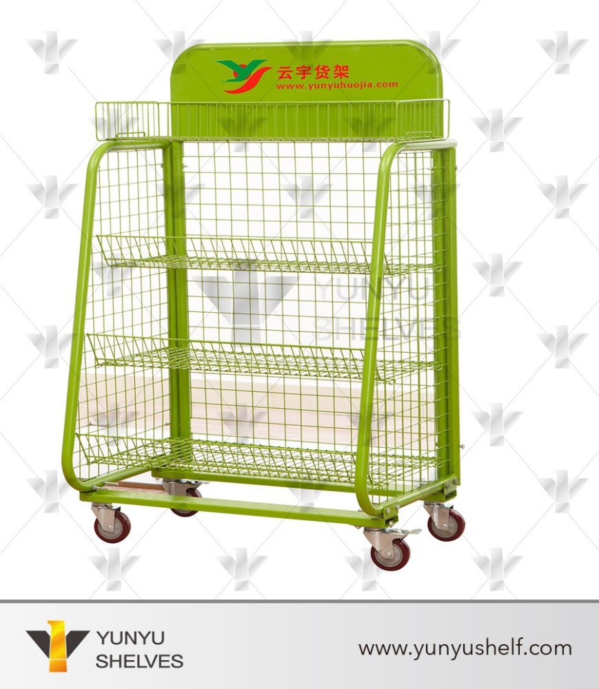 Mini wire mesh carts for supermarket promotion with wheel