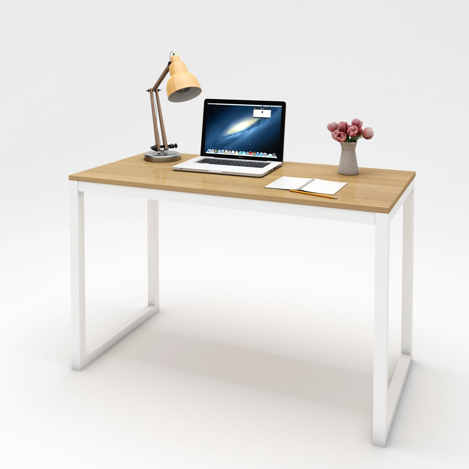 """Lifewit 47""""x23"""" Computer Desk PC Laptop Desk, Large Study Table, Modern Simple Writing Table for Home / Office / Workstation, Burlywood Color"""