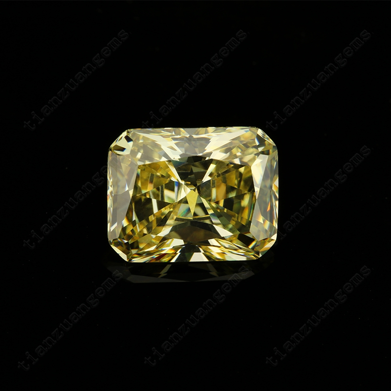 6A+ quality yellow color diamond cut Cubic Zirconia gemstone for machine cutting