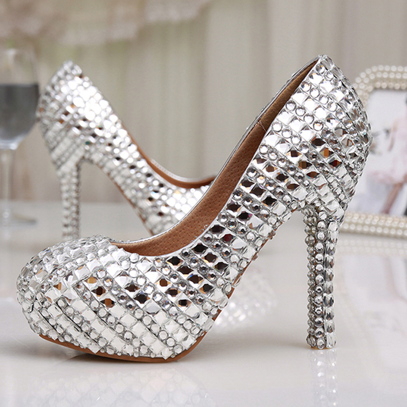 silver wedding shoes glitter high heel shoes silver rhinestone evening shoes 7464