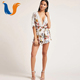 New design elegant floral romper women sexy jumpsuit ladies sexy jumpsuit with sashes