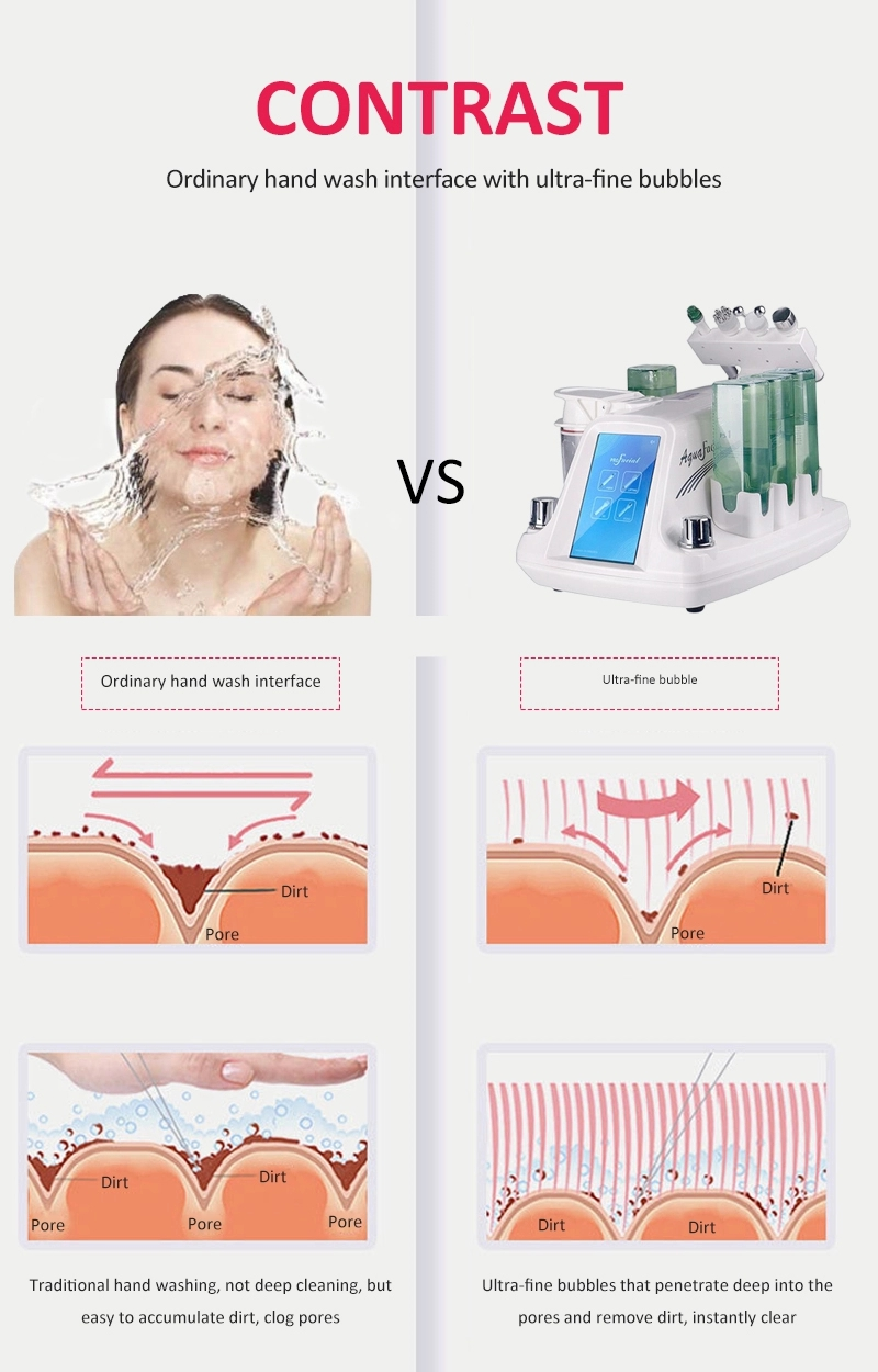 2019 trend Newest choice 6 In1 Portable Small Bubble Oxygen Water Injection Facial Cleaning Beauty Device