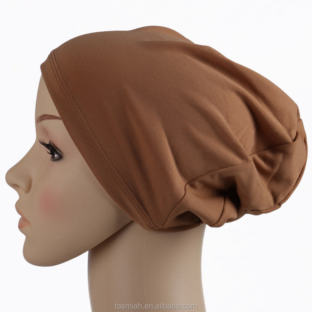 wholesale pure solid color muslim hijab Bennie Bonnet cap X-MA92