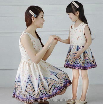 4ca948699f2b 2015 new design floral cotton mother and daughter family set clothing dress  design