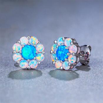 Kaimei Mexican Opal Jewelry 2018 Fashion Austrian Crystal Blue Sun Flower Cubic Zirconia Stud