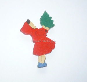 Vintage Christmas Wood Little Red Riding Hood Tree Ornament