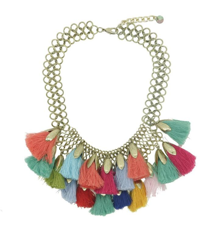choker boho jewelry thread colorful tassel bohemian style necklace