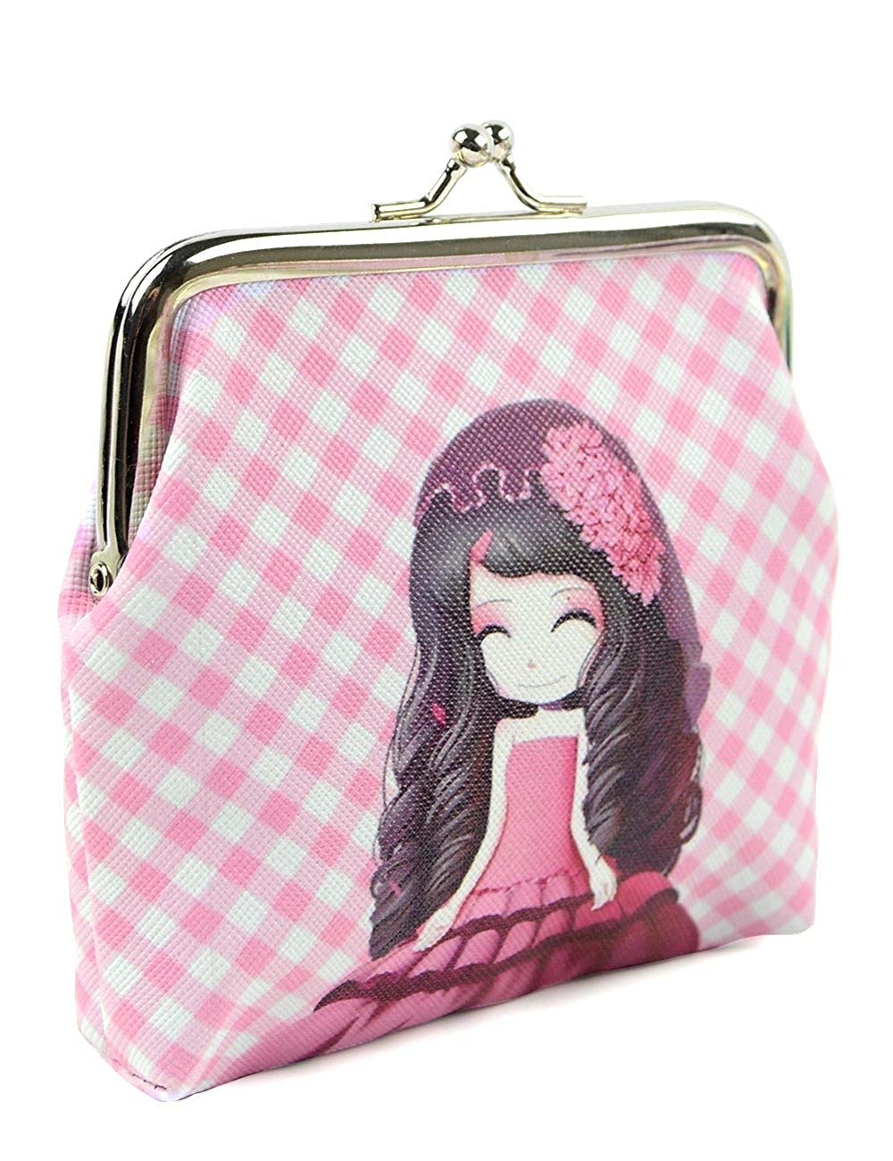 077dbb0ce2 POPUCT Lovely Girl Pattern Coin Purse Kiss Lock for Girls and Teenagers