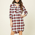 Chinese Supplier Ladies Fannel Plaid Office Wear Button Down Long T-Shirt Dress