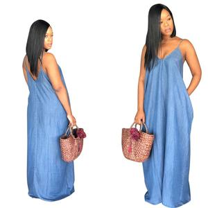 New Arrivals Summer Plus Size Women Casual Spaghetti Strap Deep V Neck Sleeveless Loose Denim Maxi Dresses