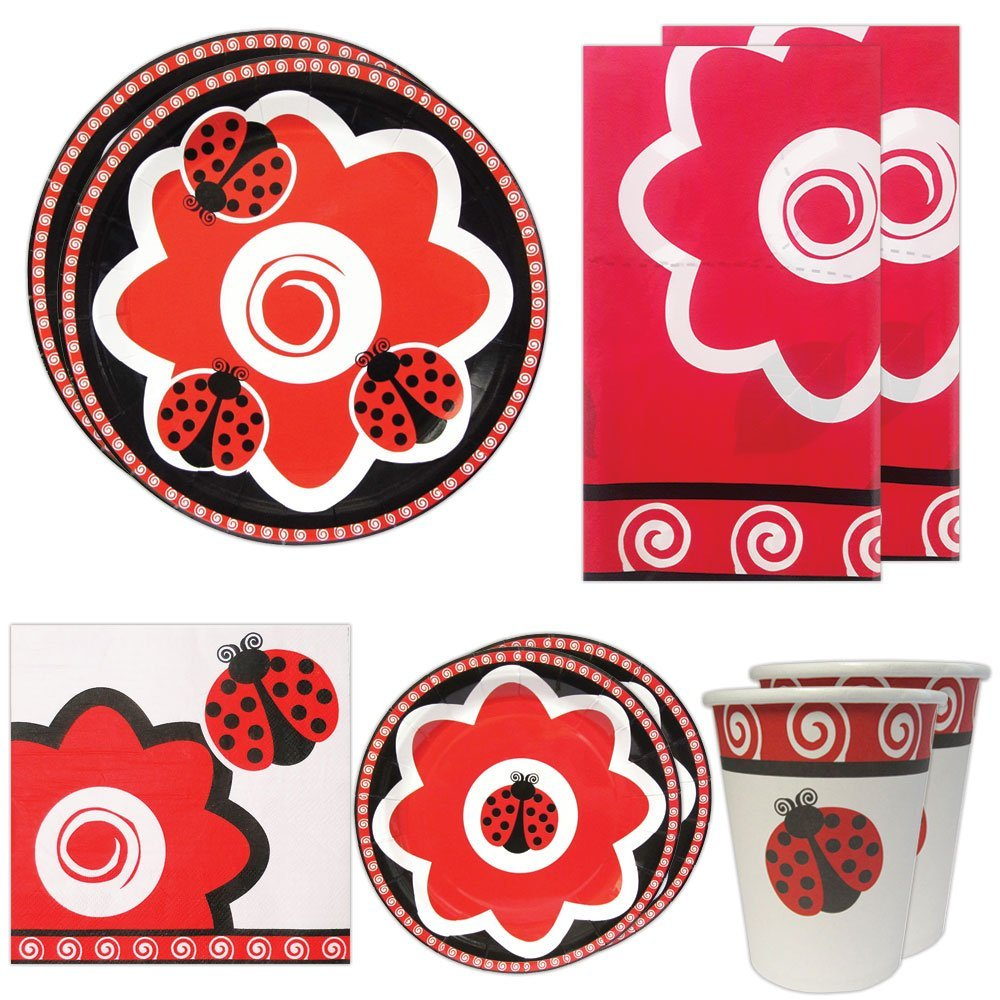 Blue Orchards Ladybug Deluxe Party Packs (70 Pieces for 16 Guests!), Ladybug Party Supplies, Ladybug Decorations, Tableware