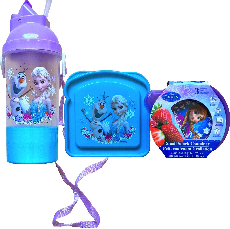 Disney Frozen 5 Piece Lunch Kit Back to School Disney Frozen Lunch Set Includes Disney Frozen Rock and Sip Bottle , Disney Frozen Sandwich Container and Disney Frozen Pack of 3 Small Snack Container