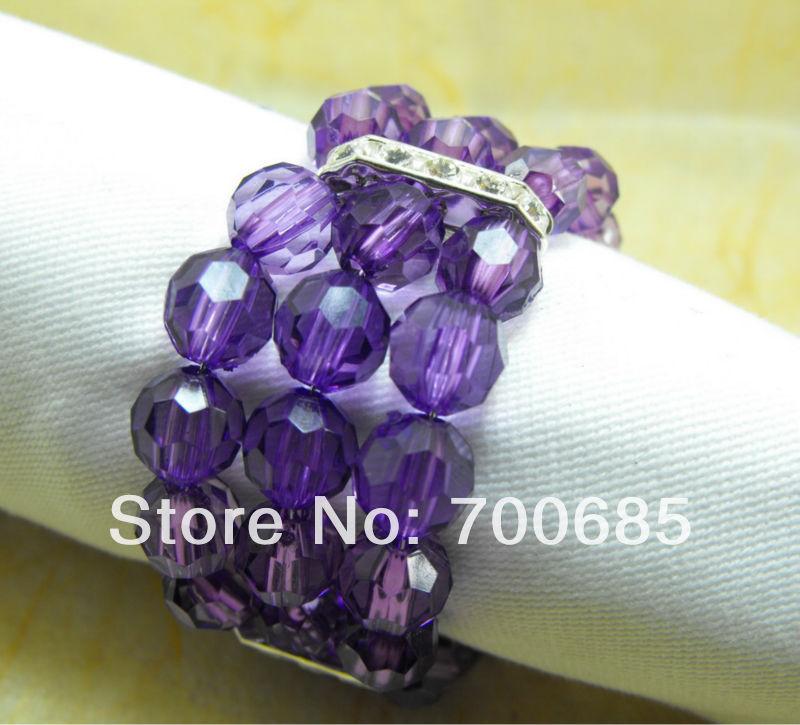 Dark Purple Crystal Beads Napkin Ring, Napkin Holder,-in