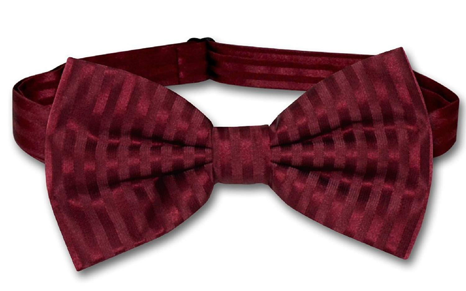 Vesuvio Napoli BOWTie BURGUNDY Color Striped Vertical Stripes Men's Bow Tie