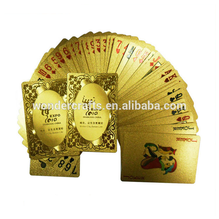 Full poker deck 54 cards customized design waterproof material PET/PVC 999.9 pure 24k gold plated playing card