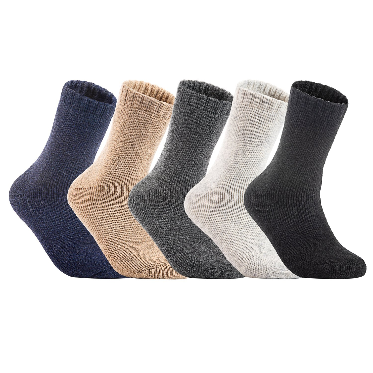 2ab4c99d85803 Lian LifeStyle Men's 4 Pairs Pack Extra Thick Cashmere Wool Socks Plain Size  ...