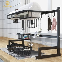 High Quality Black Color Kitchen 2 Tier 201 Stainless Steel Over Sink Dish Drying Rack