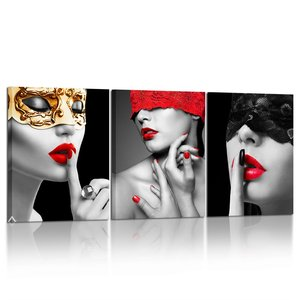 3 Piece Beautiful Sexy Woman Poster Art Prints Red Lips Lady Fashion Black Picture Printed on Canvas